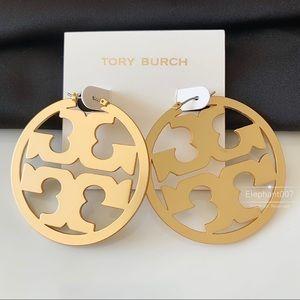 tory burch gold signature hoop earrings